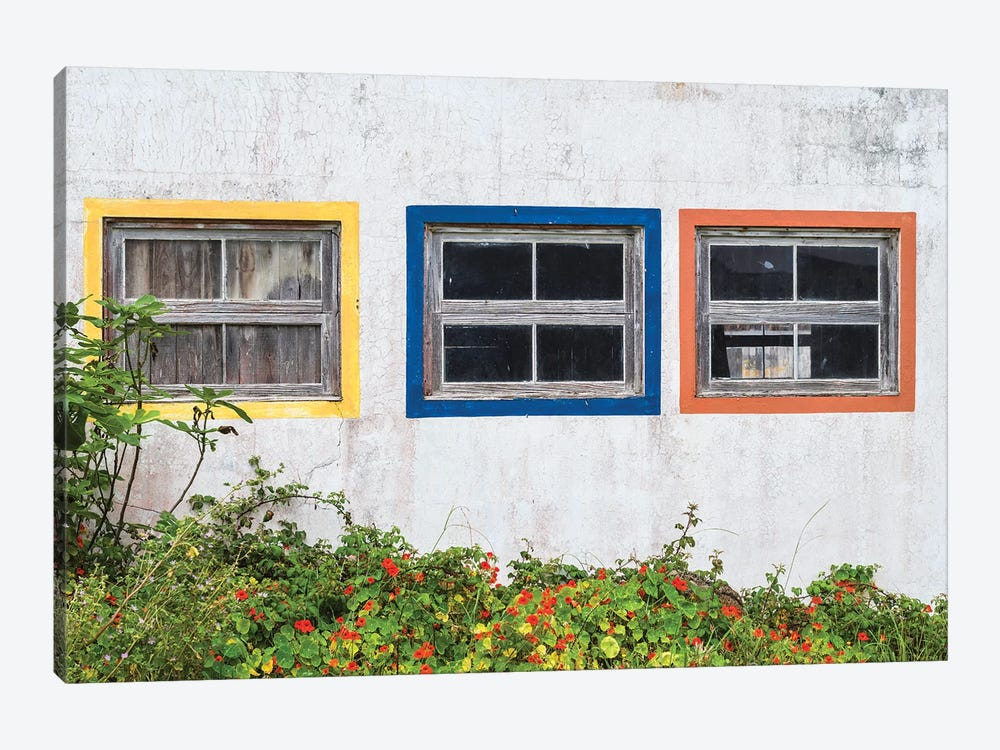 Portugal, Azores, Santa Maria Island, Anjos. Windows of the old factory by Walter Bibikow 1-piece Canvas Artwork