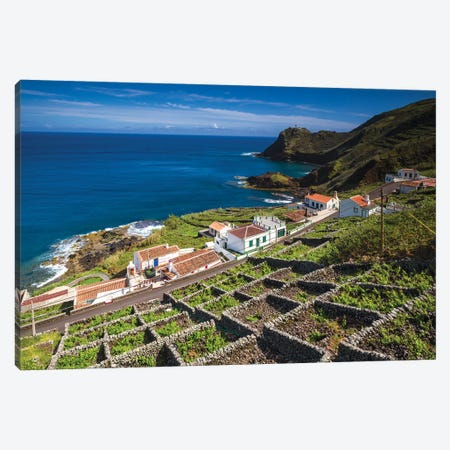 Portugal, Azores, Santa Maria Island, Maia. Elevated view of town and volcanic rock vineyards Canvas Print #WBI145} by Walter Bibikow Canvas Art