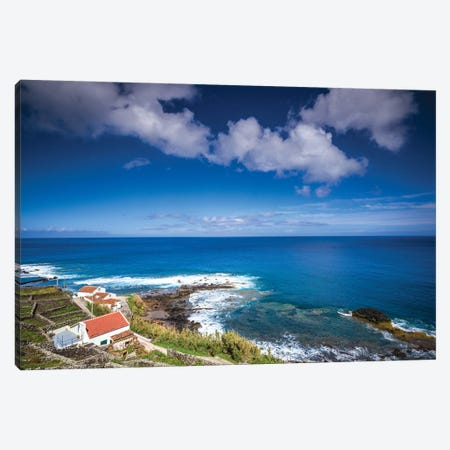 Portugal, Azores, Santa Maria Island, Maia. Elevated view of town and volcanic rock vineyards Canvas Print #WBI146} by Walter Bibikow Canvas Art