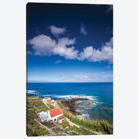 Portugal, Azores, Santa Maria Island, Maia. Elevated view of town and volcanic rock vineyards Canvas Print #WBI147} by Walter Bibikow Canvas Wall Art