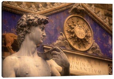 Statue Of David Replica, Palazzo Vecchio, Piazza della Signoria, Florence, Tuscany Region, Italy Canvas Print #WBI14