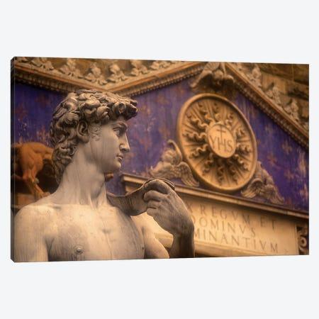 Statue Of David Replica, Palazzo Vecchio, Piazza della Signoria, Florence, Tuscany Region, Italy Canvas Print #WBI14} by Walter Bibikow Art Print