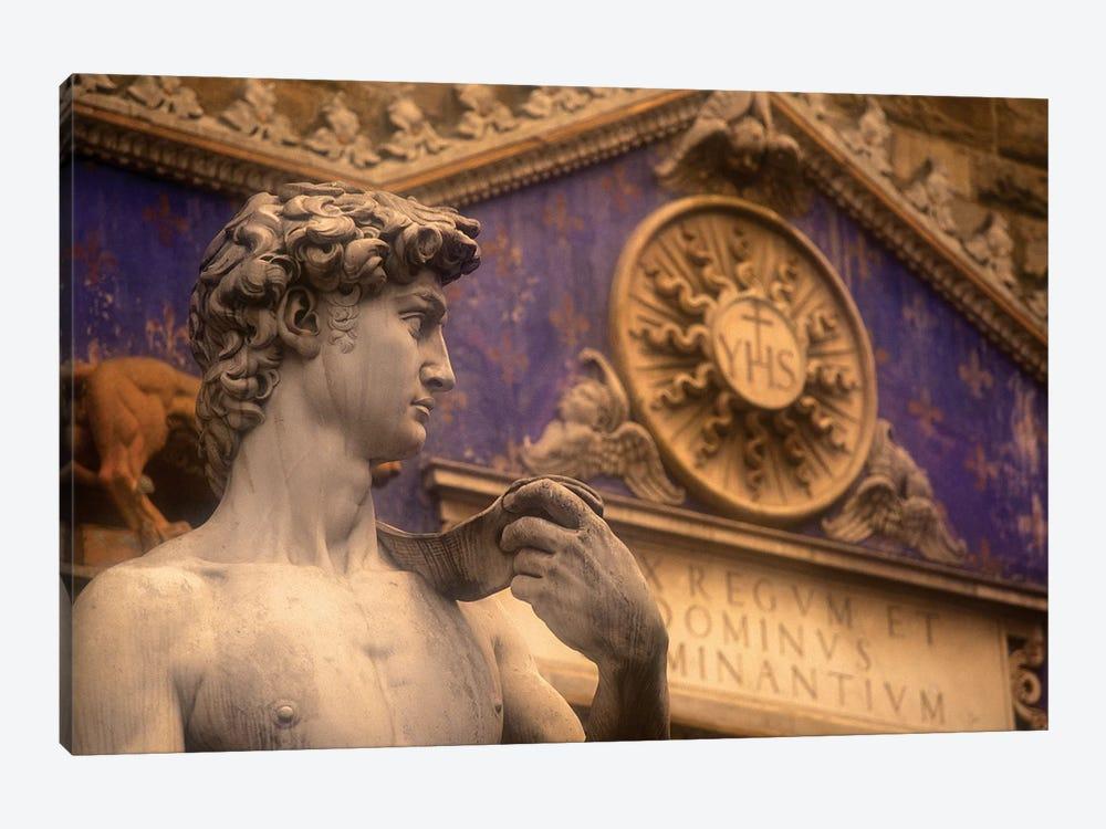 Statue Of David Replica, Palazzo Vecchio, Piazza della Signoria, Florence, Tuscany Region, Italy by Walter Bibikow 1-piece Canvas Art Print
