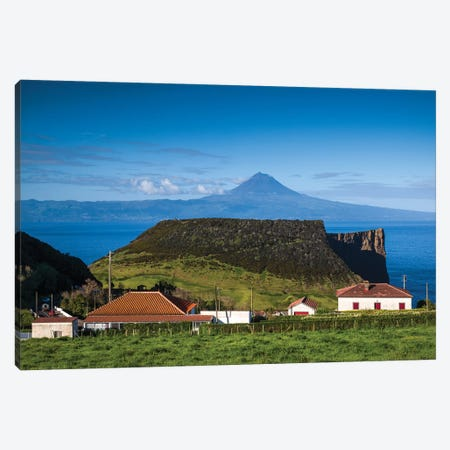 Portugal, Azores, Sao Jorge Island. Baia dos Arraias, view towards Pico Volcano Canvas Print #WBI150} by Walter Bibikow Canvas Artwork