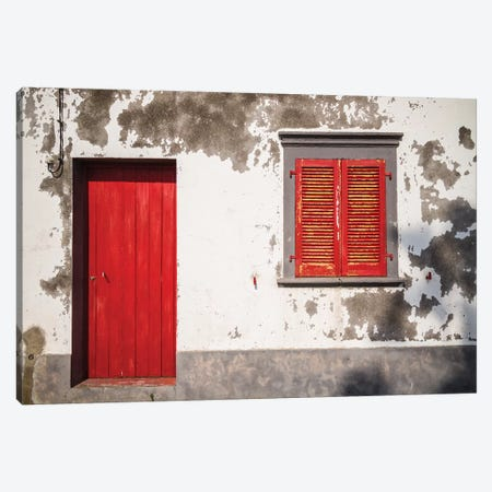 Portugal, Azores, Sao Miguel Island, Mosteiros. House detail Canvas Print #WBI152} by Walter Bibikow Canvas Art