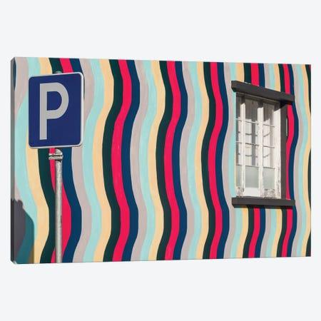 Portugal, Azores, Sao Miguel Island, Ponta Delgada. Colorful harborside building Canvas Print #WBI153} by Walter Bibikow Canvas Artwork