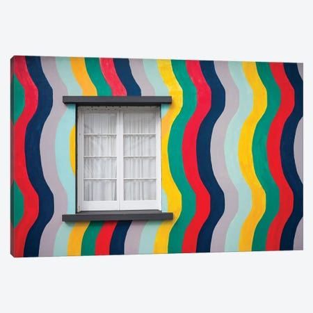 Portugal, Azores, Sao Miguel Island, Ponta Delgada. Colorful harborside building Canvas Print #WBI154} by Walter Bibikow Canvas Art Print
