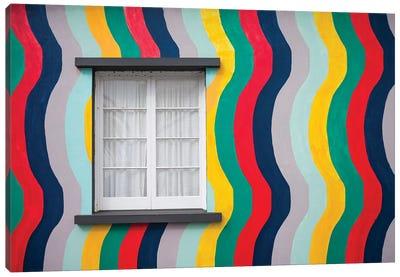 Portugal, Azores, Sao Miguel Island, Ponta Delgada. Colorful harborside building Canvas Art Print