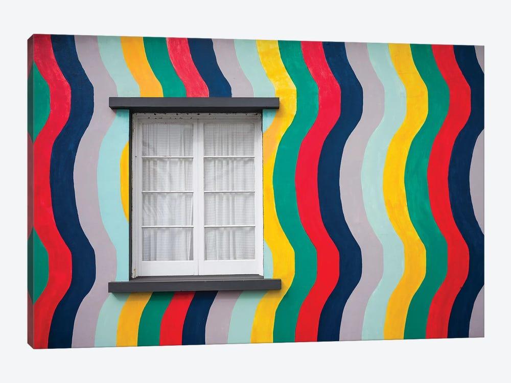 Portugal, Azores, Sao Miguel Island, Ponta Delgada. Colorful harborside building by Walter Bibikow 1-piece Canvas Print
