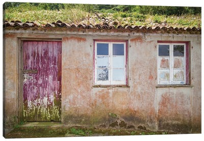 Portugal, Azores, Sao Miguel Island, Porto Formoso fishing shacks Canvas Art Print