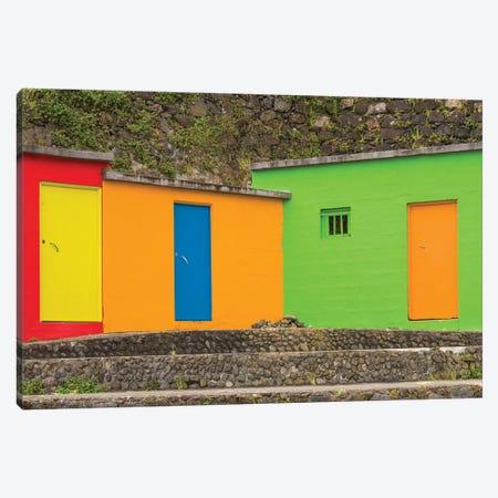 Portugal, Azores, Sao Miguel Island, Porto Formoso fishing shacks Canvas Print #WBI157} by Walter Bibikow Canvas Print
