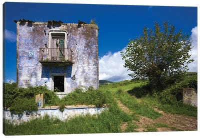Portugal, Azores, Sao Miguel Island, Vila Franco do Campo. Ruins of old farmhouse Canvas Art Print
