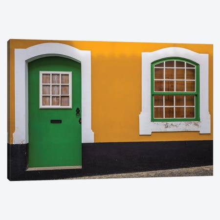 Portugal, Azores, Terceira Island, Angra do Heroismo. Building detail  Canvas Print #WBI160} by Walter Bibikow Canvas Art Print