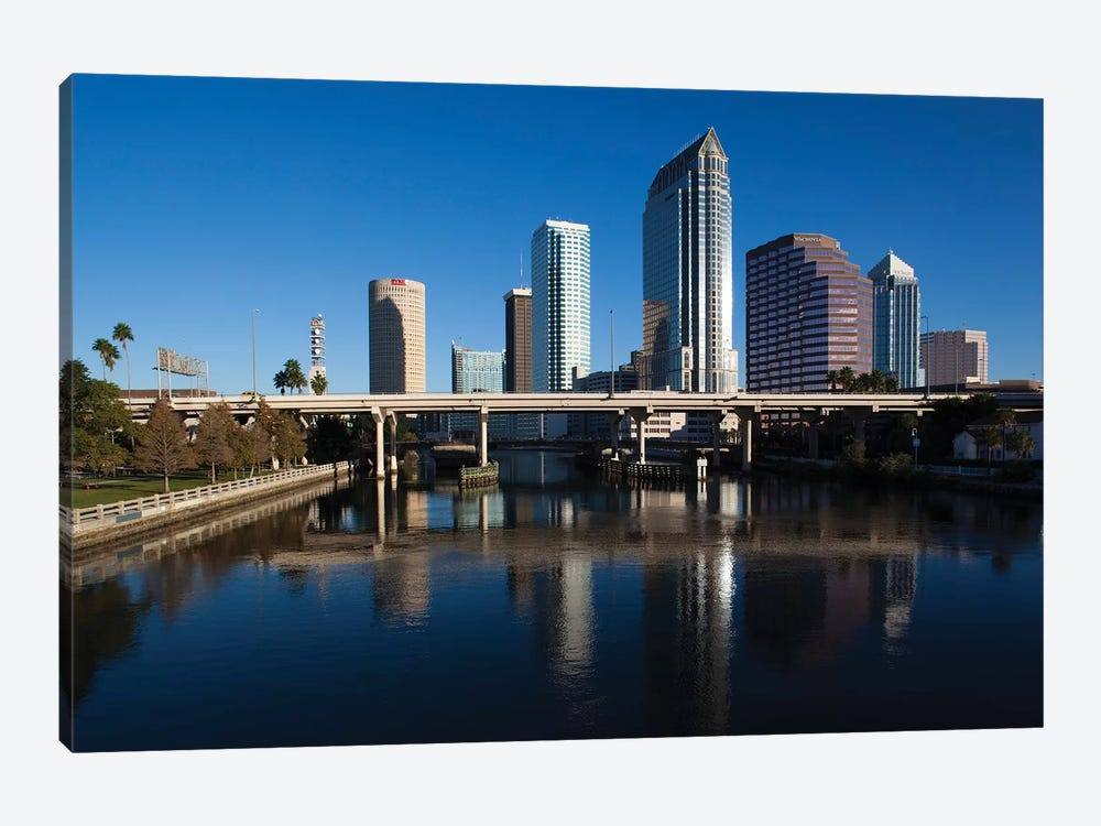 USA, Florida, Tampa, City View From Hillsborough River by Walter Bibikow 1-piece Canvas Artwork