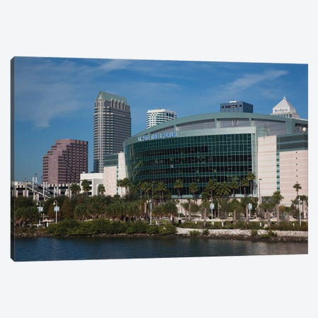 Tampa Skyline And St. Pete Times Forum, Arena, 2009 Canvas Print #WBI180} by Walter Bibikow Canvas Print
