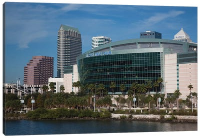 Tampa Skyline And St. Pete Times Forum, Arena, 2009 Canvas Art Print