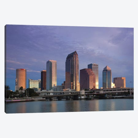 Tampa Skyline From Hillsborough Bay, Dawn Canvas Print #WBI181} by Walter Bibikow Canvas Print