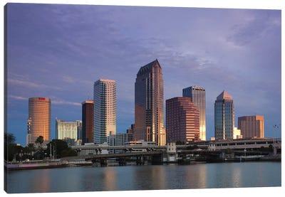 Tampa Skyline From Hillsborough Bay, Dawn Canvas Art Print