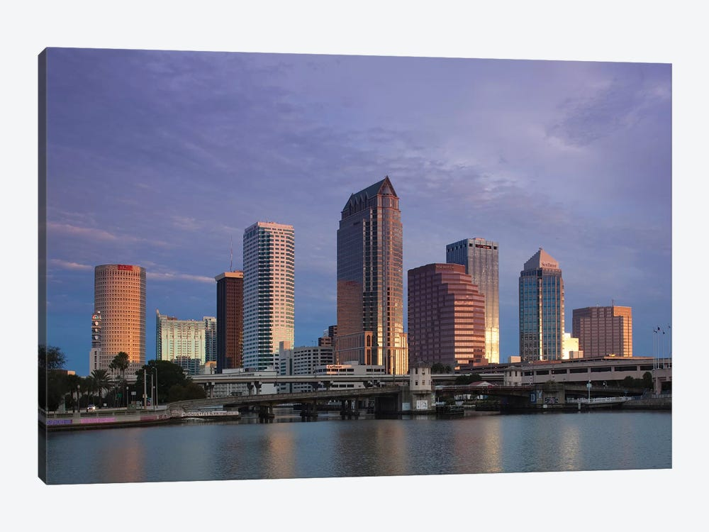 Tampa Skyline From Hillsborough Bay, Dawn by Walter Bibikow 1-piece Canvas Print