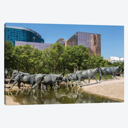 Bronze Sculptures, Cattle Drive, Pioneer Plaza, Dallas, Texas, USA Canvas Print #WBI182} by Walter Bibikow Canvas Art Print