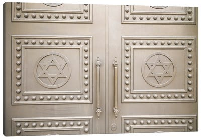 Georgia, Batumi. Batumi Synagogue, built 1904, door detail with Stars of David. Canvas Art Print