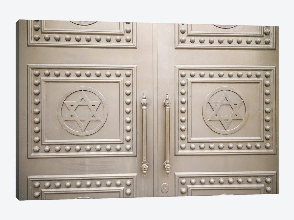 Georgia, Batumi. Batumi Synagogue, built 1904, door detail with Stars of David. by Walter Bibikow 1-piece Canvas Wall Art