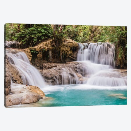 Laos, Luang Prabang. Tat Kuang Si Waterfall. Canvas Print #WBI188} by Walter Bibikow Canvas Art Print