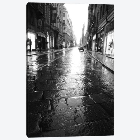 Wet Street At Night, Turin, Piedmont Region, Italy Canvas Print #WBI18} by Walter Bibikow Canvas Art