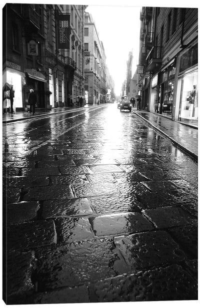 Wet Street At Night, Turin, Piedmont Region, Italy Canvas Print #WBI18