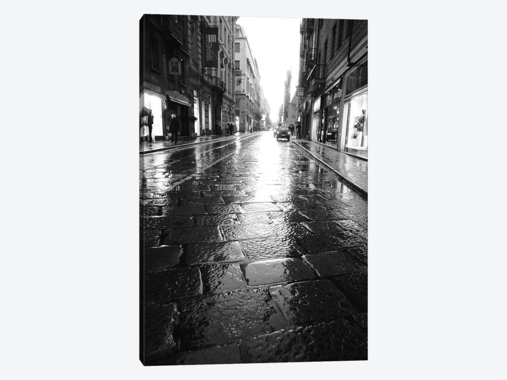 Wet Street At Night, Turin, Piedmont Region, Italy by Walter Bibikow 1-piece Canvas Print