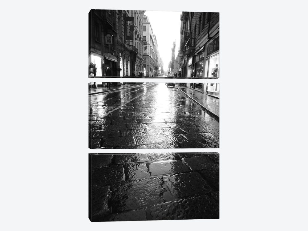 Wet Street At Night, Turin, Piedmont Region, Italy by Walter Bibikow 3-piece Canvas Art Print