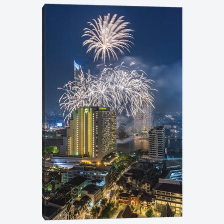 Thailand, Bangkok. Riverside, high angle skyline view with fireworks at dusk. Canvas Print #WBI190} by Walter Bibikow Canvas Art
