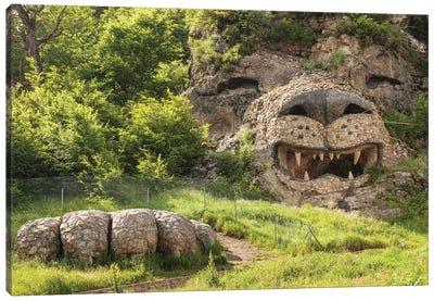 Nagorno Karabakh Republic, Vank. Seastone Hotel, large roaring lion's head. Canvas Art Print