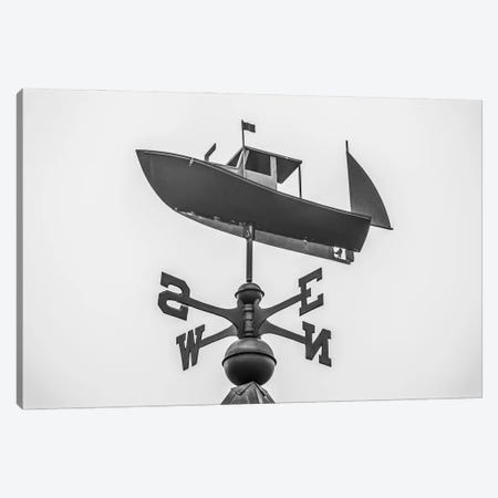 USA, Maine, Mt. Desert Island, Bernard. Lobster boat weather vane 3-Piece Canvas #WBI200} by Walter Bibikow Canvas Wall Art