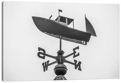USA, Maine, Mt. Desert Island, Bernard. Lobster boat weather vane Canvas Art Print