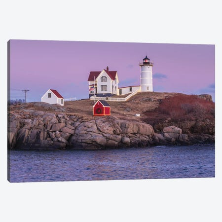 USA, Maine, York Beach. Nubble Light lighthouse at dusk Canvas Print #WBI204} by Walter Bibikow Canvas Art Print