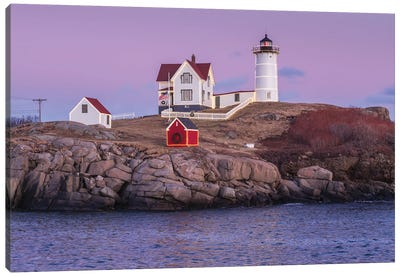 USA, Maine, York Beach. Nubble Light lighthouse at dusk Canvas Art Print