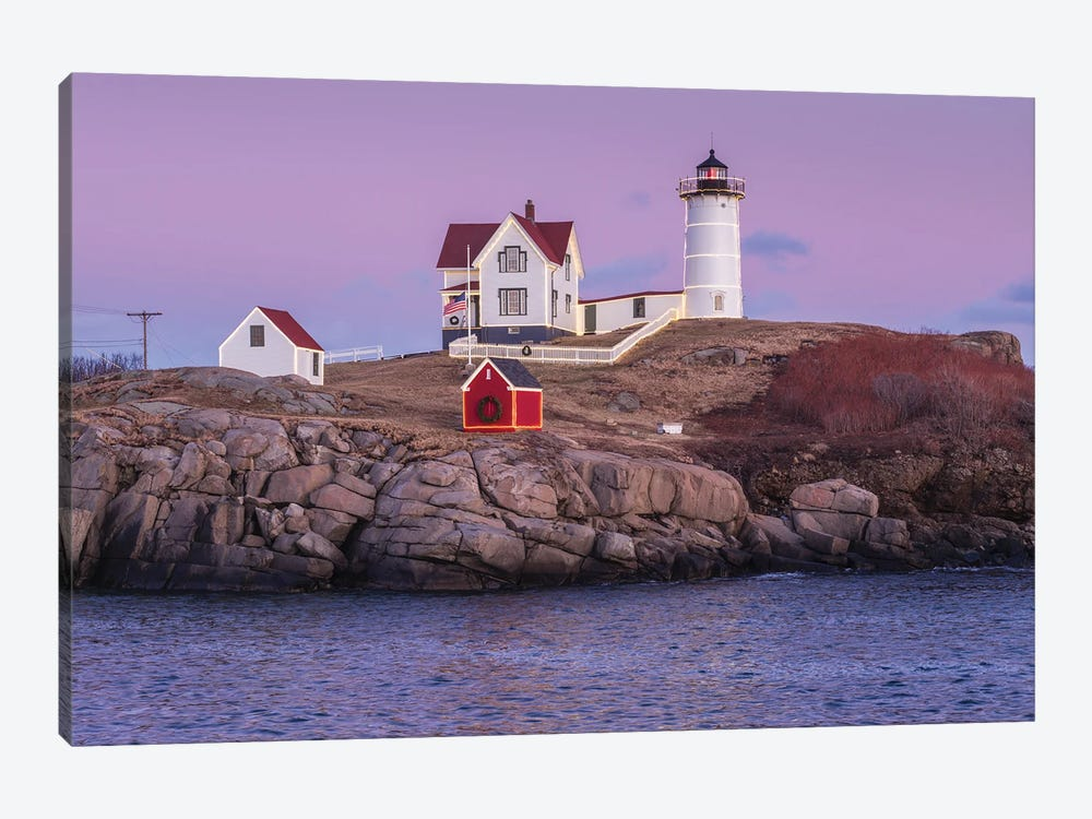 USA, Maine, York Beach. Nubble Light lighthouse at dusk by Walter Bibikow 1-piece Canvas Art