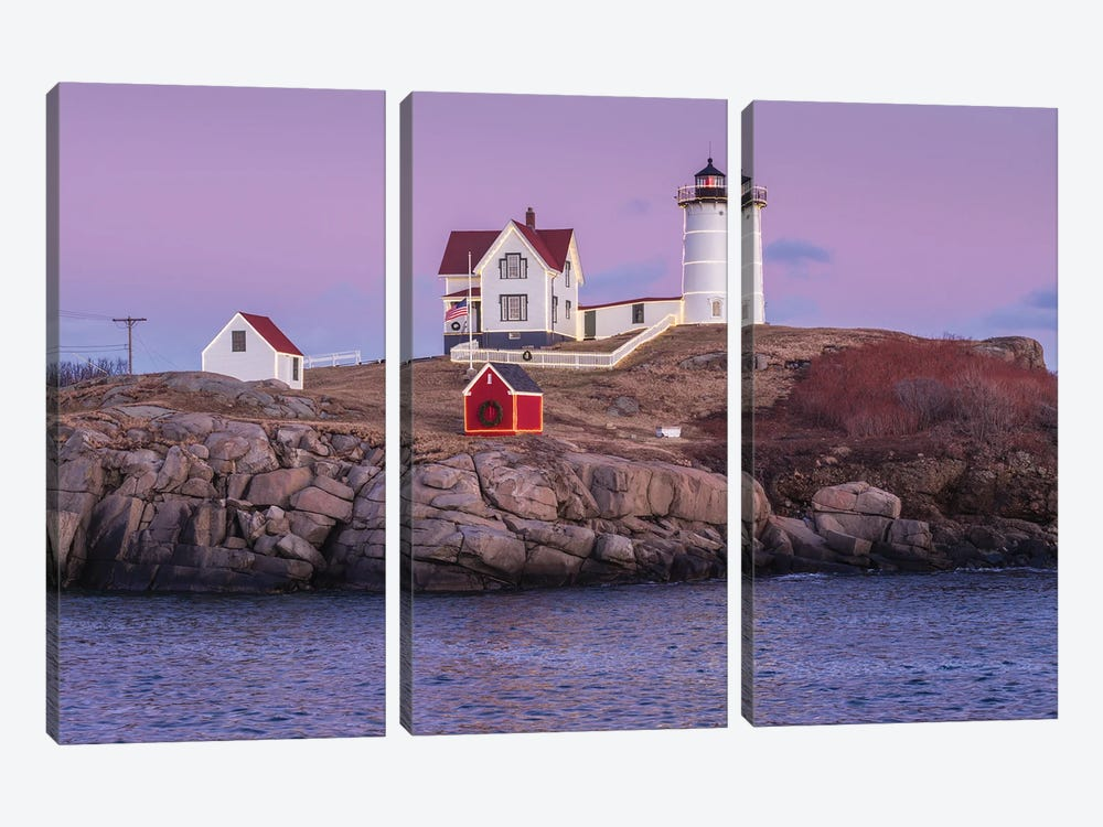 USA, Maine, York Beach. Nubble Light lighthouse at dusk by Walter Bibikow 3-piece Canvas Art
