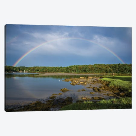USA, Massachusetts, Cape Ann, Gloucester. Circular rainbow over Goose Cove Canvas Print #WBI205} by Walter Bibikow Canvas Art Print