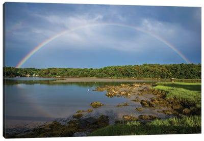 USA, Massachusetts, Cape Ann, Gloucester. Circular rainbow over Goose Cove Canvas Art Print