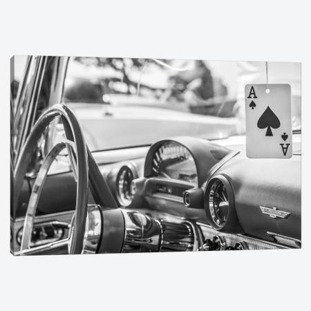 USA, Massachusetts, Cape Ann, Gloucester. Antique car interior and ace of spades card. Canvas Print #WBI207} by Walter Bibikow Art Print