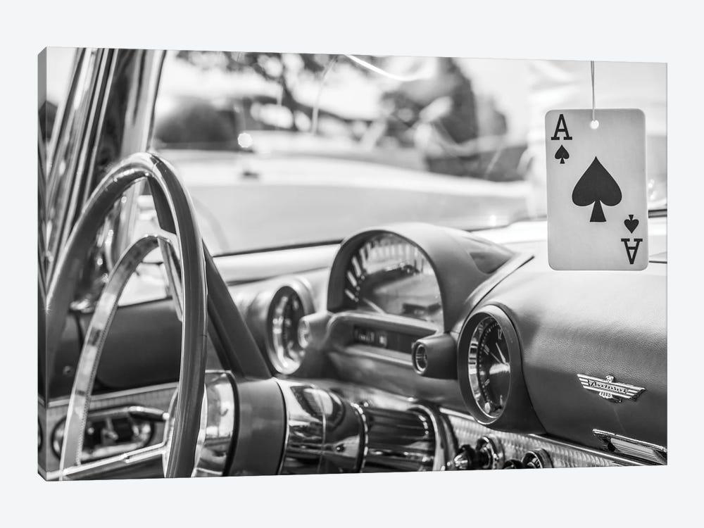 USA, Massachusetts, Cape Ann, Gloucester. Antique car interior and ace of spades card. by Walter Bibikow 1-piece Canvas Art Print