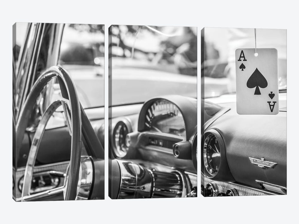 USA, Massachusetts, Cape Ann, Gloucester. Antique car interior and ace of spades card. by Walter Bibikow 3-piece Canvas Print