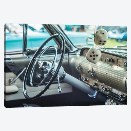 USA, Massachusetts, Cape Ann, Gloucester. Antique car, antique car steering wheel and fuzzy dice Canvas Print #WBI208} by Walter Bibikow Canvas Art
