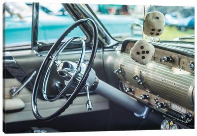 USA, Massachusetts, Cape Ann, Gloucester. Antique car, antique car steering wheel and fuzzy dice Canvas Art Print