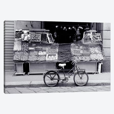 Bicycle And Fruit Stand, Milan, Lombardy Region, Italy Canvas Print #WBI20} by Walter Bibikow Canvas Print