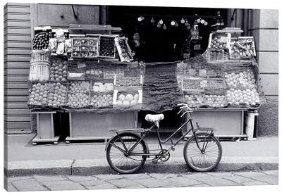 Bicycle And Fruit Stand, Milan, Lombardy Region, Italy Canvas Art Print