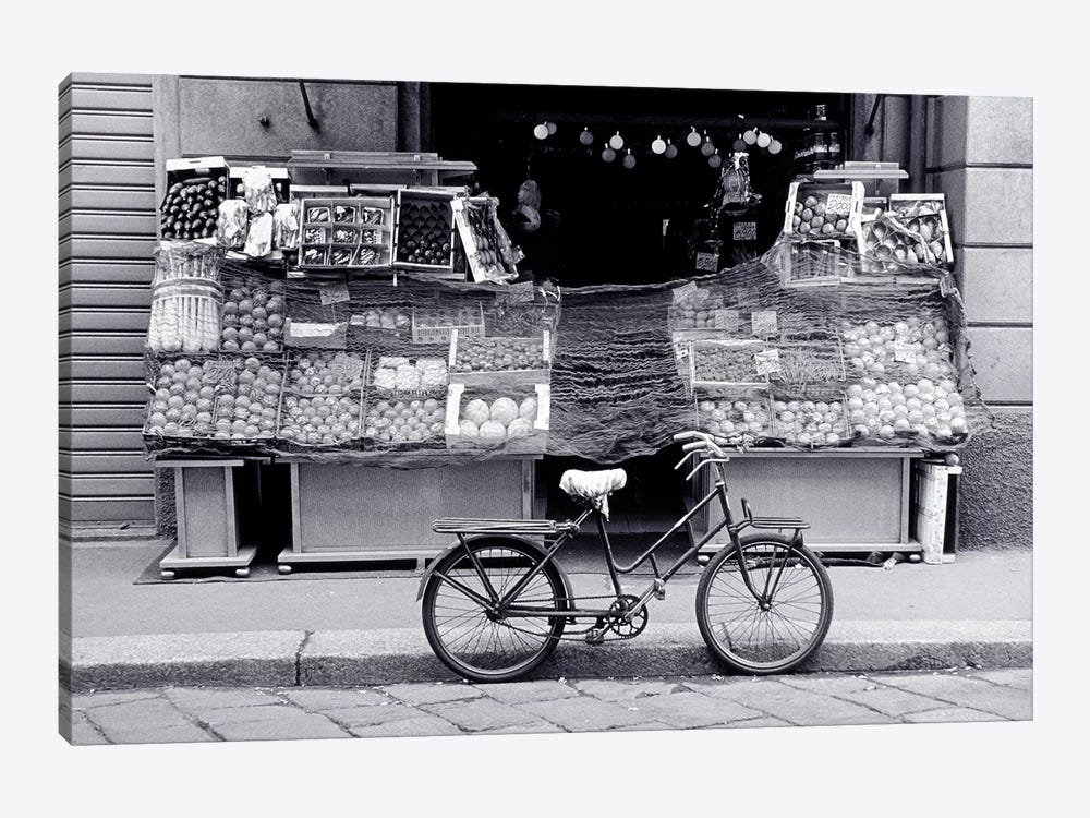 Bicycle And Fruit Stand, Milan, Lombardy Region, Italy by Walter Bibikow 1-piece Canvas Artwork