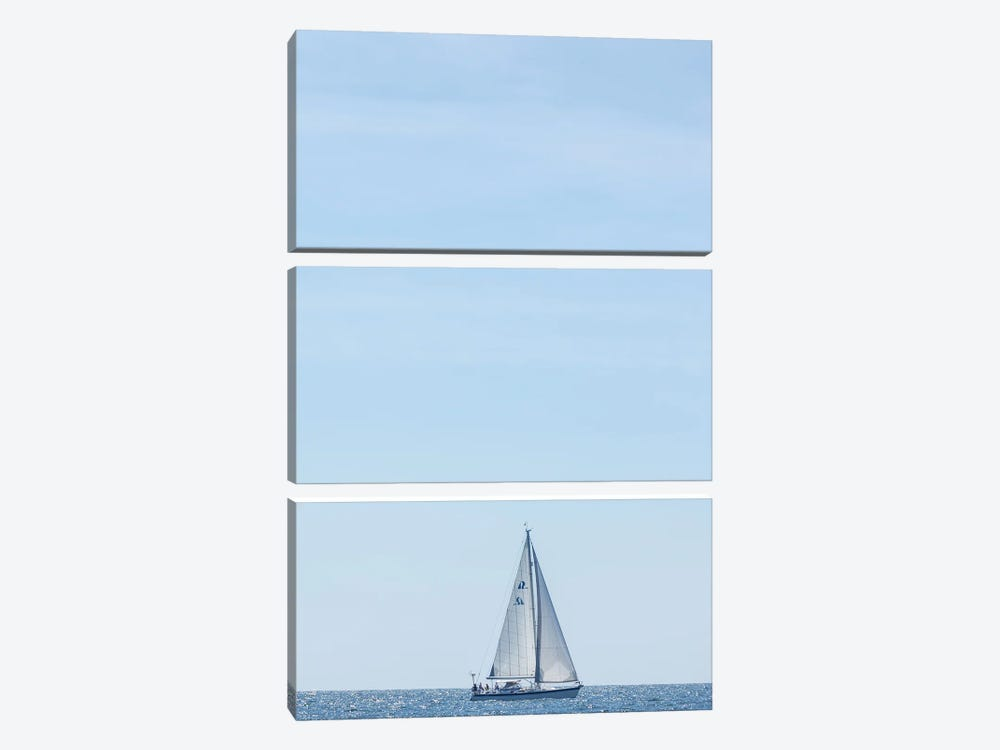 USA, Massachusetts, Cape Ann, Gloucester. Gloucester Schooner Festival, schooner parade of sail. by Walter Bibikow 3-piece Canvas Art Print